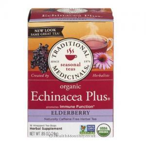 Traditional Medicinals Organic Echinacea Plus (Elderberry, 24g, 16 Wrapped Tea Bags)