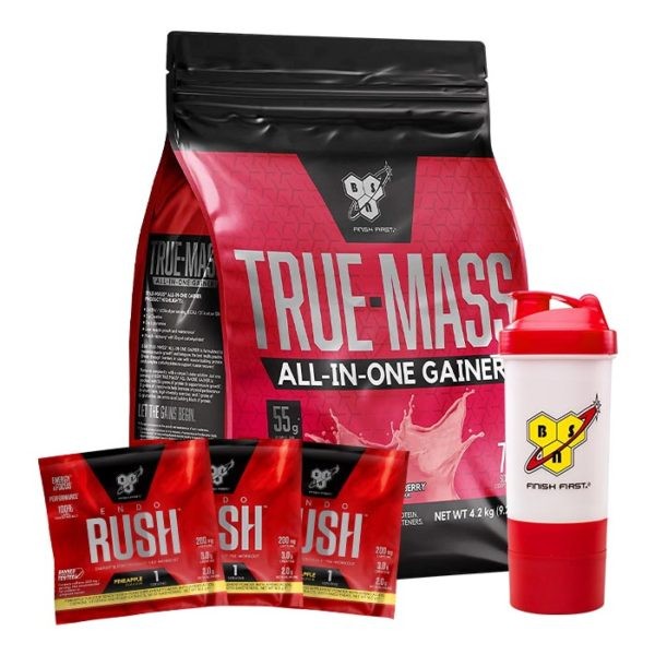 BSN True Mass All-In-One Mass Gainer | 4200g | Strawberry | 50g Protein | Weight Gainers | Over 1000 Calories Per Serving | FREE PRODUCTS WORTH £19